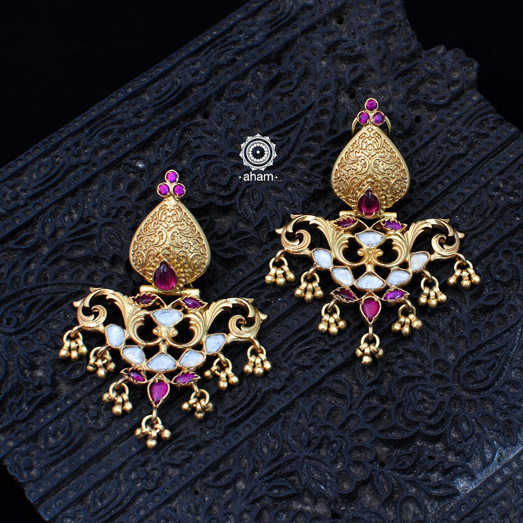 Gold Polish Silver Chandelier Earring