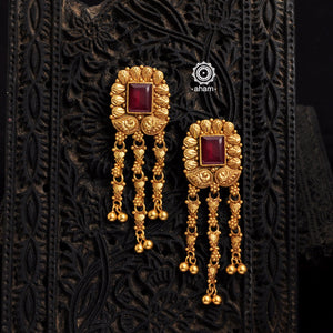Gold Red stone Earrings