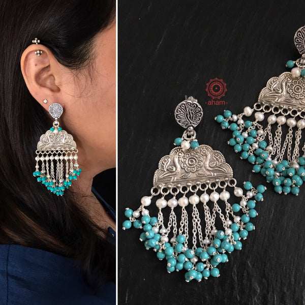 Ruhi Turquoise & Pearl Peacock Silver Earrings