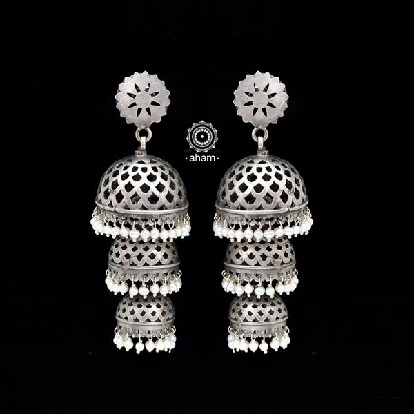 Ruhi Silver Pearl 3 layer Jhumkie