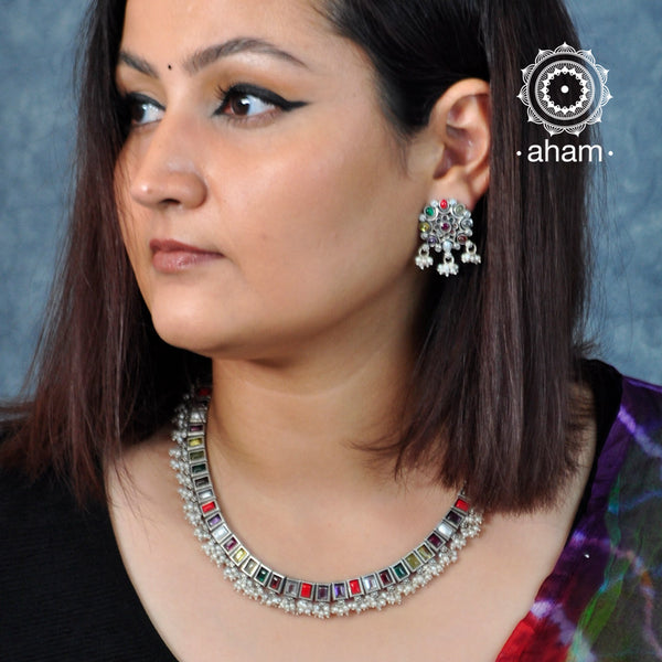 92.5 Sterling Silver Navratna Choker, laced with fresh water pearls .