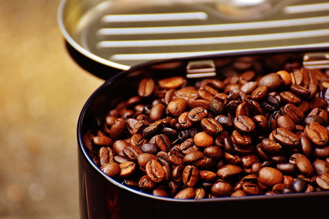 coffee beans in open tin