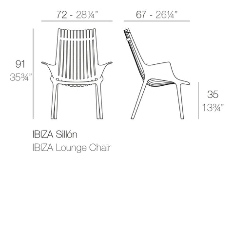 Ibiza lounge chair dimensions