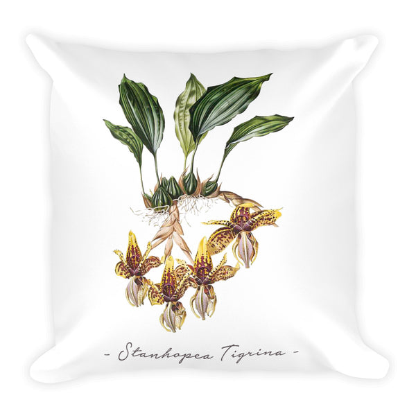 Vintage Orchid Illustration Square Throw Pillow with Stuffing (Stanhopea Tigrina)