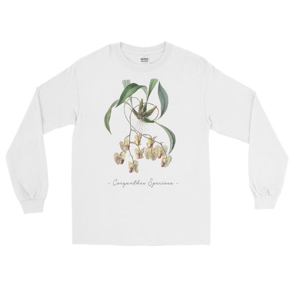 Vintage Orchid Illustration Long Sleeve T-Shirt (Coryanthes Speciosa)