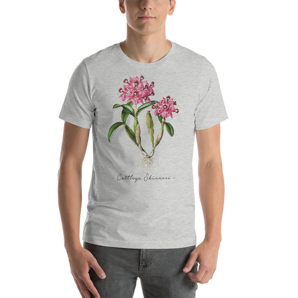 Vintage Orchid Illustration Short-Sleeve T-Shirt (Cattleya Skinneri)