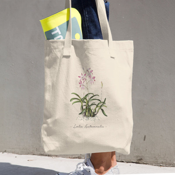 Vintage Orchid Illustration Tote Bag (Laelia Autumnalis)