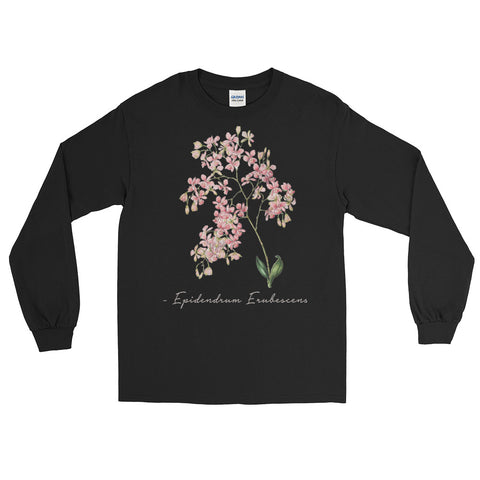Vintage Orchid Illustration Long Sleeve T-Shirt (Epidendrum Erubescens)