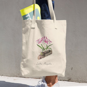Vintage Orchid Illustration Tote Bag (Laelia Majalis)