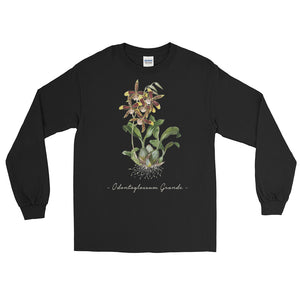 Vintage Orchid Illustration Long Sleeve T-Shirt (Odontoglossum Grande)