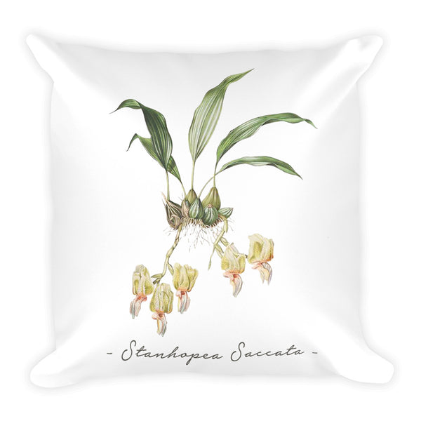 Vintage Orchid Illustration Square Throw Pillow with Stuffing (Stanhopea Saccata)