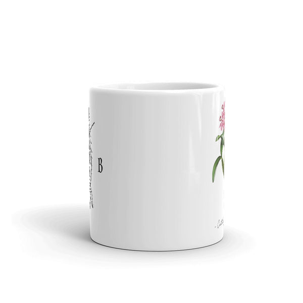 Vintage Orchid Illustration Mug (Cattleya Skinneri w/ Fir and Bramble logo)