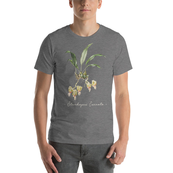 Vintage Orchid Illustration Short-Sleeve T-Shirt (Stanhopea Saccata)