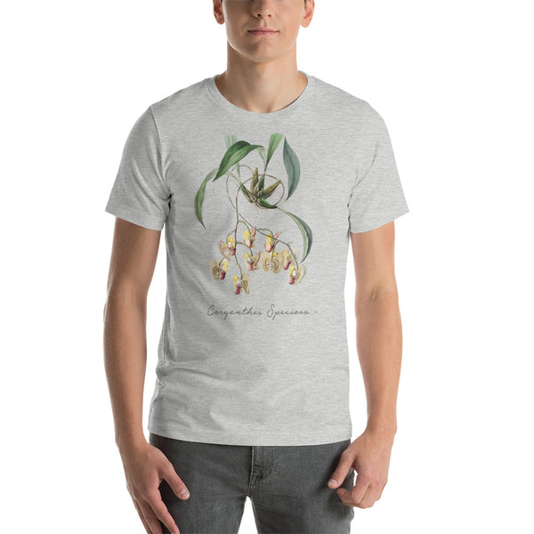 Vintage Orchid Illustration Short-Sleeve T-Shirt (Coryanthes Speciosa)
