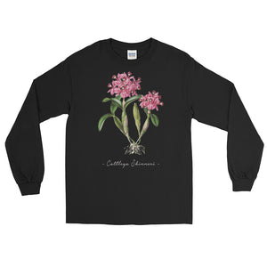Vintage Orchid Illustration Long Sleeve T-Shirt (Cattleya Skinneri)