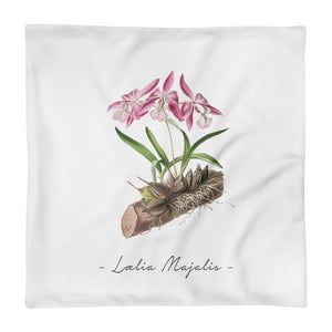Vintage Orchid Illustration Square Throw Pillow Case ONLY (Laelia Majalis)