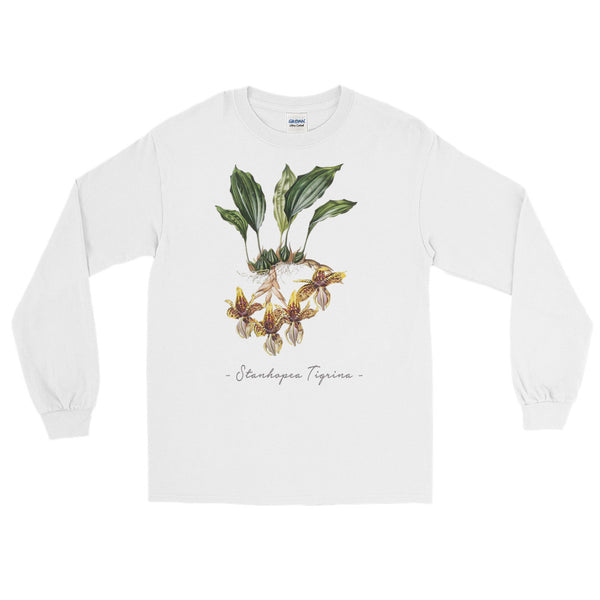 Vintage Orchid Illustration Long Sleeve T-Shirt (Stanhopea Tigrina)