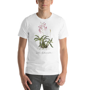 Vintage Orchid Illustration Short-Sleeve T-Shirt (Laelia Autumnalis)
