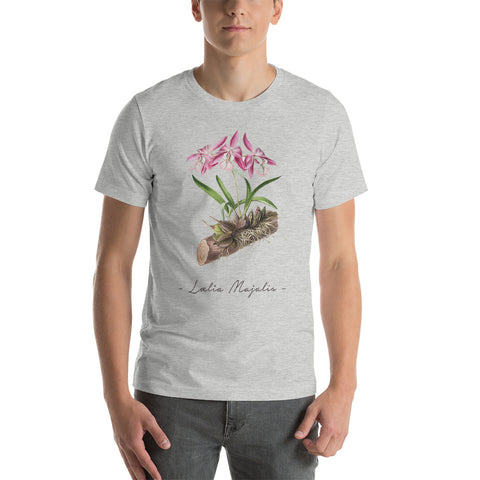 Vintage Orchid Illustration Short-Sleeve T-Shirt (Laelia Majalis)