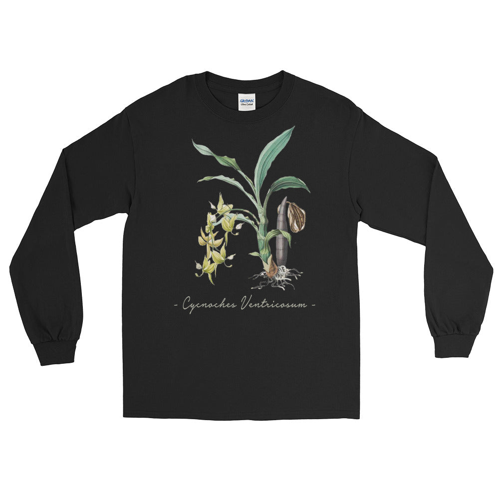 Vintage Orchid Illustration Long Sleeve T-Shirt (Cycnoches Ventricosum)