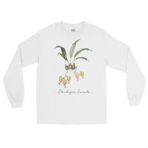 Vintage Orchid Illustration Long Sleeve T-Shirt (Stanhopea Saccata)