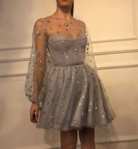 0ce6fbeab09 Long Sleeve Silver Prom Dresses Short 2019 Starry Tulle Cheap Prom Gown  Cocktail Party Dresses