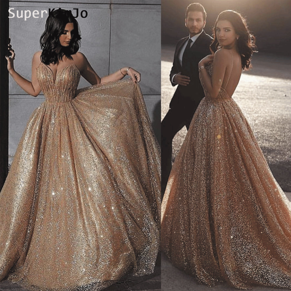 16f4159949f Sexy Formal Dress 2019 Gold Sequin Bling Backless Prom Dresses Long Women Sparkle  Prom Gown ...