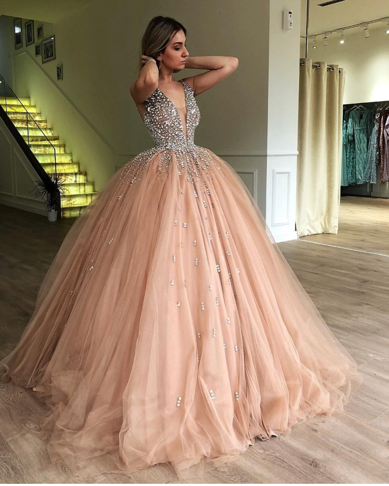 d751f5f240 Ball Gown Prom Dresses 2019 Luxury Crystals Beaded Champagne Prom Gown  Vestido De Novia ...