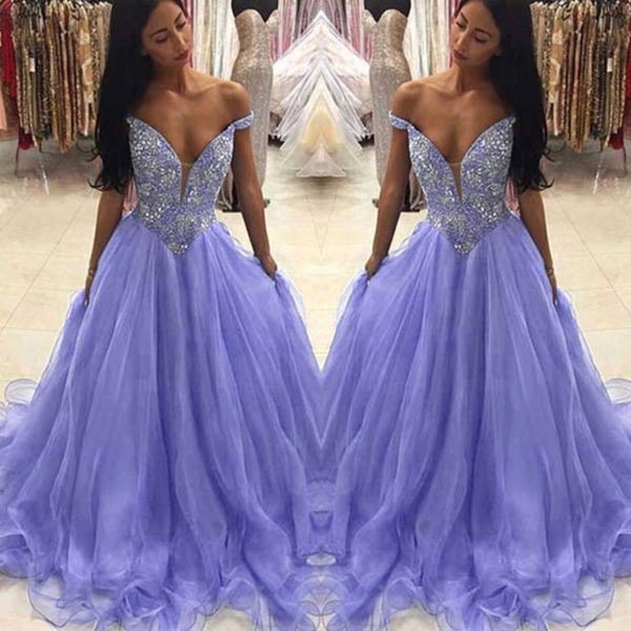 800ee837e35 Off the Shoulder Purple Prom Dresses 2019 A Line Lavender Elegant Beaded  Crystals Prom Gown Long ...