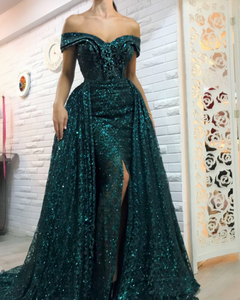 54d63f6ff99 Glitter Hunter Green Evening Dresses 2019 Detachable Skirt Off the Shoulder  Arabic Evening Gown Formal Dress