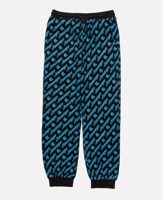 BLACK SWEATPANTS W/ BLUE ALL OVER PRINT