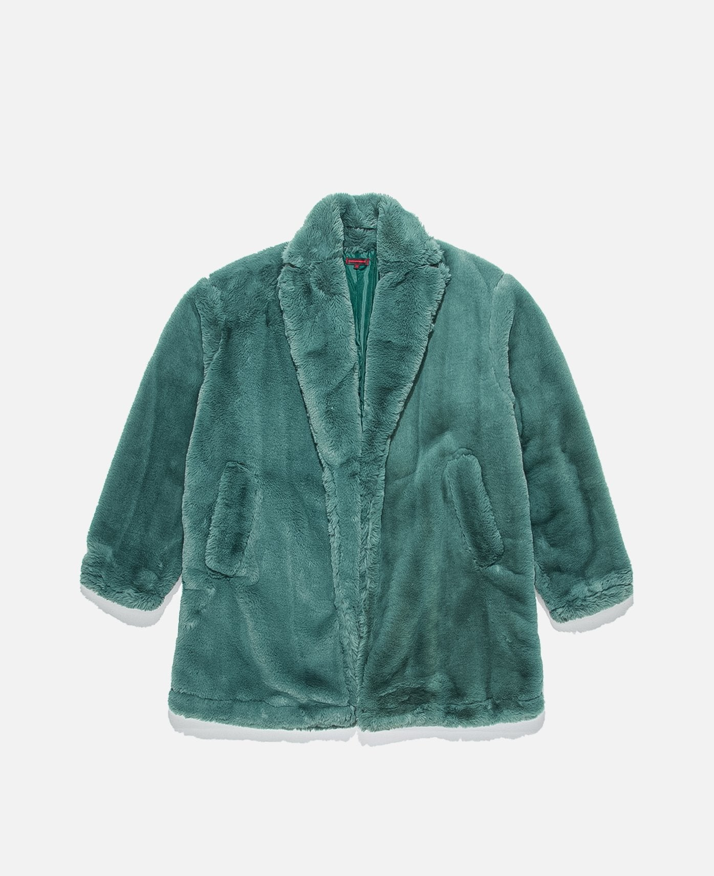LONG FUR COAT W/ NYLON POCKET, GREEN