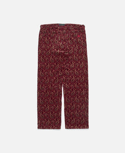 PRINTED WIDE LEG PANTS, BURGUNDY