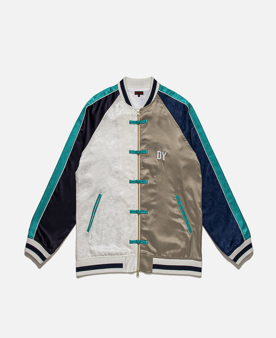 CLOT SILK PATCHWORK SOUVENIR JACKET, OFF WHITE