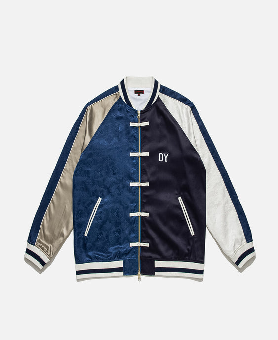 CLOT SILK PATCHWORK SOUVENIR JACKET, NAVY