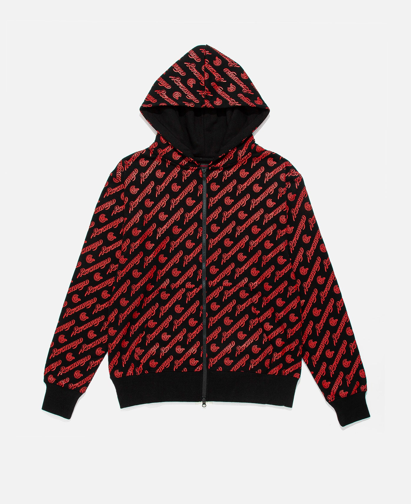 BLACK ZIP UP W/ RED ALL OVER PRINT