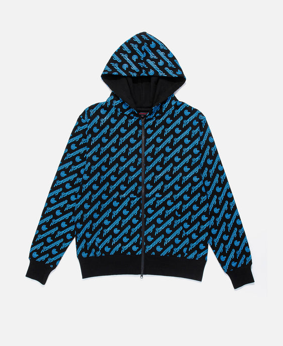 BLACK ZIP UP W/ BLUE ALL OVER PRINT