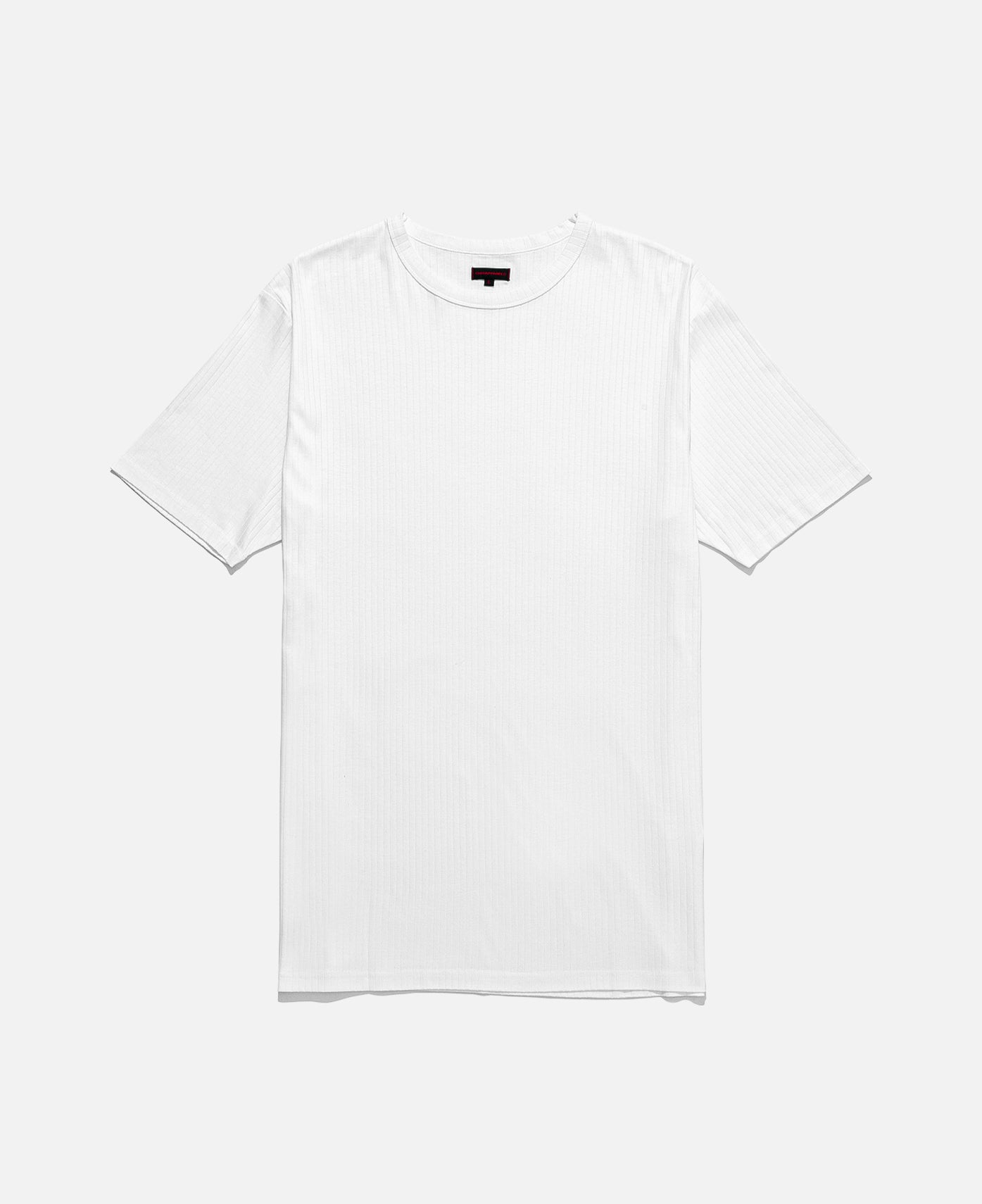 UNDERLAY RIBBED TEE LONG LENGTH, WHITE