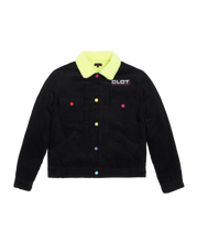 FLUFFY COLLAR CORDUROY JACKET (BLACK)