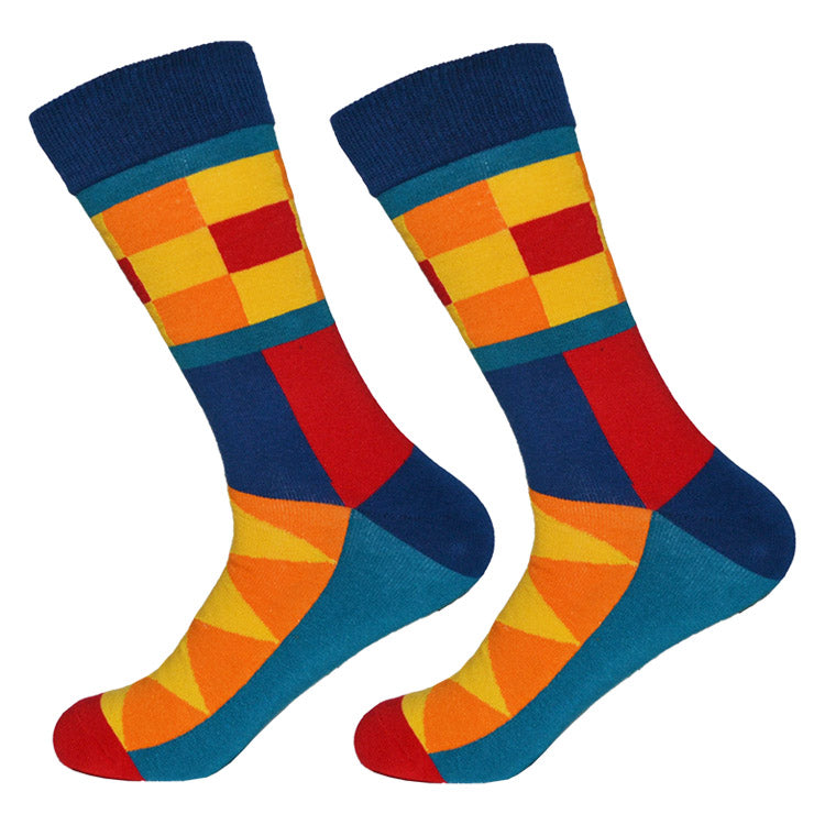 Dutch Pop vesele happy socks pisane nogavice mavrica kvadrat