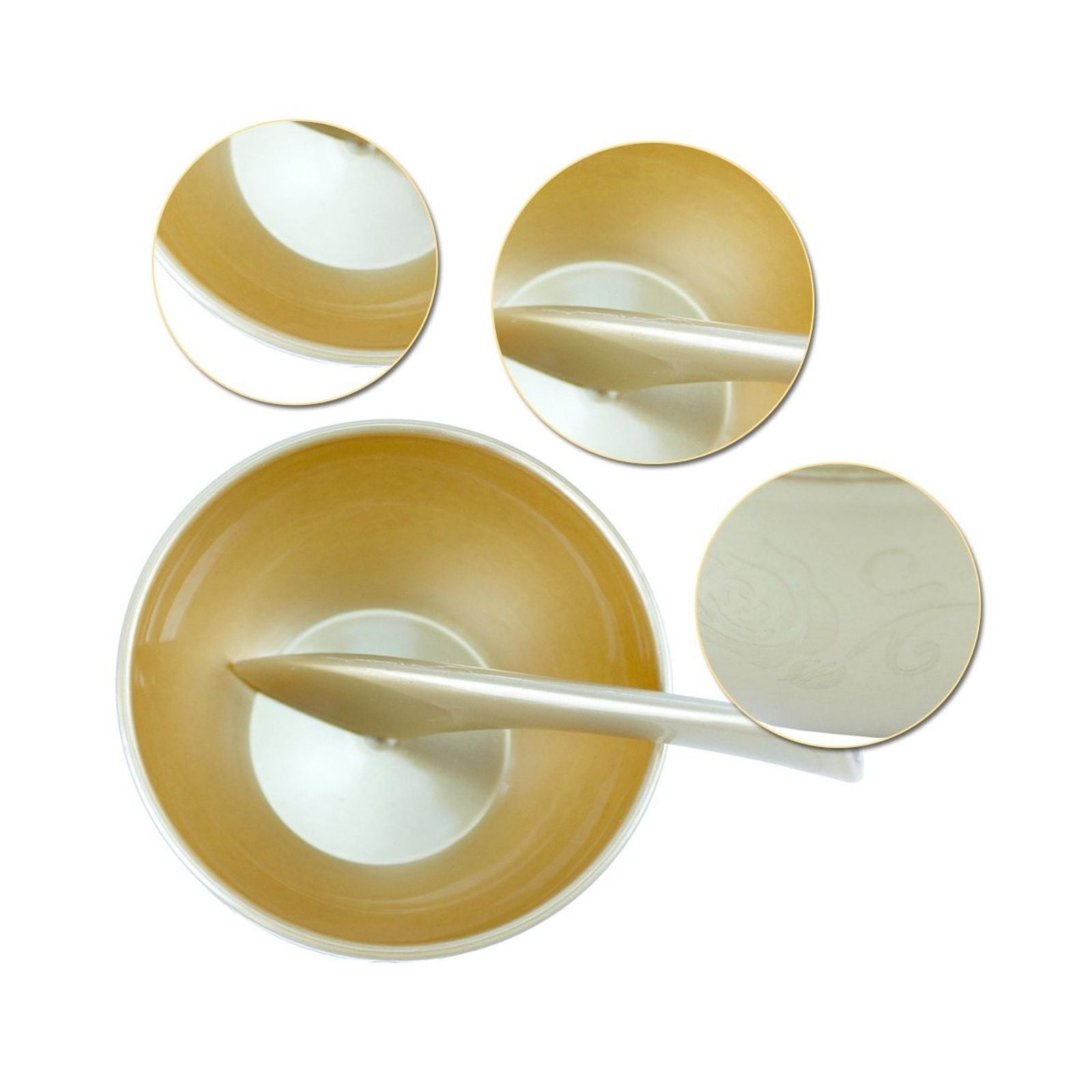 Golden Professional Facial Mask Mixing Bowl Spatula for Skin Care With Cover