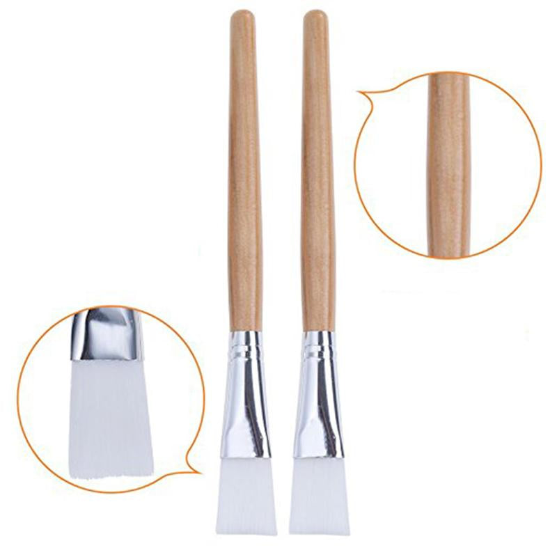 Wooden Handle With White Bristles DIY Facial Mask Applicator Brush (2 pcs)