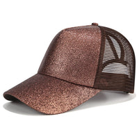 Glitter Ponytail Baseball Cap Women Snapback Dad Hat Mesh Trucker Caps Messy Bun Summer Hat Female Adjustable Hip Hop Hats