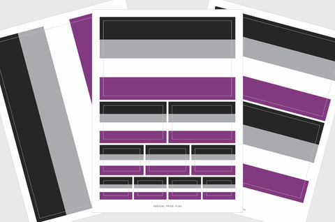Asexual Flag Sticker, Weatherproof Vinyl Asexual Sexuality Flag Stickers