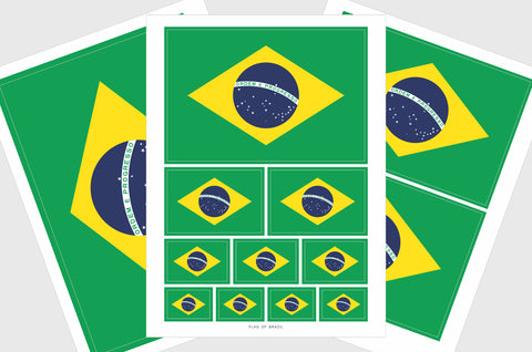 Brazil Flag Sticker, Weatherproof Vinyl Brazilian Flag Stickers