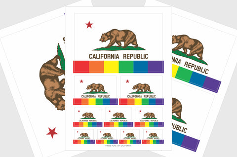 California Gay Pride Flag Sticker, Weatherproof Vinyl California LGBT Pride Flag Stickers