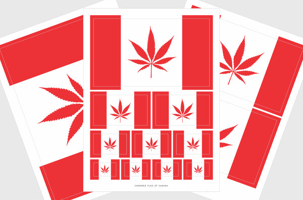 Canada Cannabis Leaf Flag Sticker, Weatherproof Vinyl Canadian Cannabis Leaf Flag Stickers