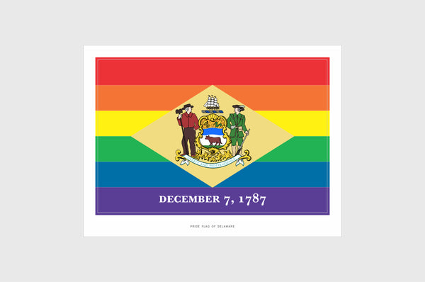 Delaware LGBT Gay Pride Flag Sticker, Weatherproof Vinyl Delaware LGBT Pride Flag Stickers