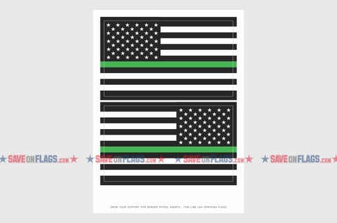 USA Green Line Reverse, Left And Right Side Flag Stickers, Weatherproof USA Flag Stickers