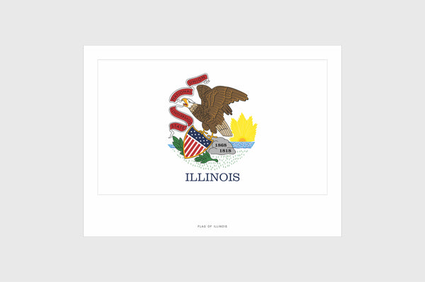 Illinois Flag Sticker, Weatherproof Vinyl Illinois Flag Stickers